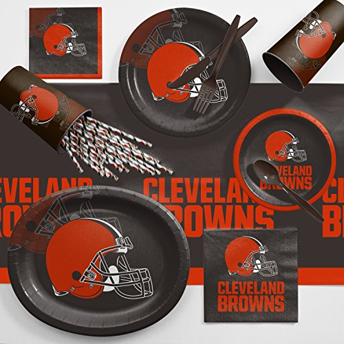 Creative Converting Cleveland Browns Ultimate Fan Party Supplies Kit, Serves 8
