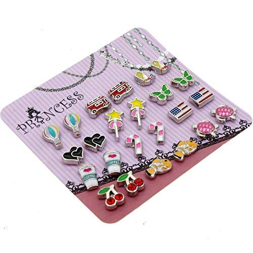 Cute Cartoon Color Enamel Magnetic Clip-on Stud Earrings for Kids Teenage girls Women, Pack of 12 (Enamel Earrings Clip)