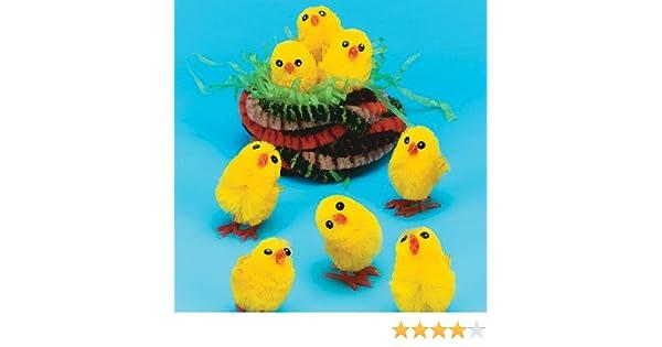 Baker Ross Pollitos de Peluche Perfectos para Crear Decoraciones de Pascua y de Primavera (Pack de 12): Amazon.es: Juguetes y juegos