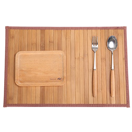 (Marscool Placemat for Kitchen Table,Bamboo Placemat Stain-Resistant,Heat-Resistant Placemats Set of 4,Natural Bamboo Material,Table Mats and Dine Mats for Dining Table,Four Model)