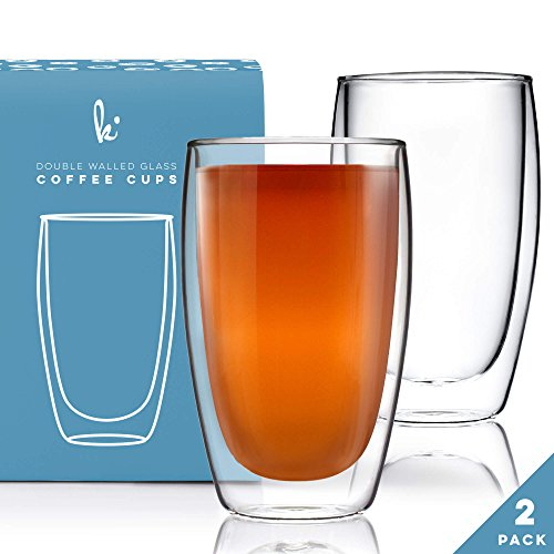 Coffee or Tea Glass Mugs Drinking Glasses Set of 2-15oz Double Walled Thermo Insulated Cups, Latte Cappuccino Espresso (2 Coffee Cups Mug)