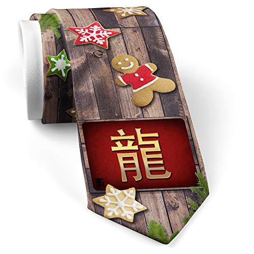 His Christmas NeckTie Dragon Chinese characters, letter red/yellow cookie wood print ()