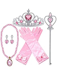 Princess Dress Up Accessories Gloves Tiara Crown Wand Necklaces Presents for Kids Girls