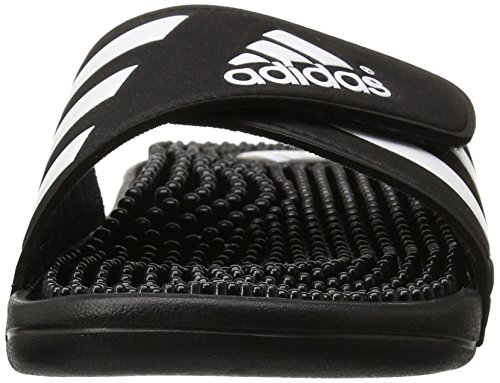 Adidas Hombres Adissage Sandal, Run White / Graphite / Run White, 10 M Negro / Negro / Blanco