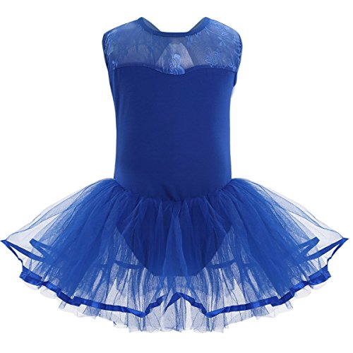 iiniim Kids Girls Cutout Back Ballet Dance Tutu Dress Leotard Skirt Ballerina Dancewear Costumes Blue 10-12 -