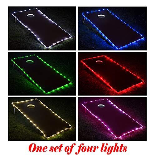 TongYu Set of 2 Cornhole Board Edge Night Lights,Light Up LED Lighting Cornhole Boards Kit, Long Lasting (72+ Hours) Great for Tailgates Backyard/Lawn Wedding BBQ & More!
