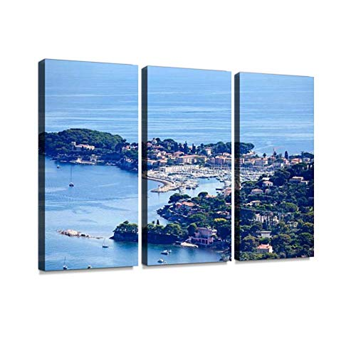 St Jean Cap Ferrat Peninsula Print On Canvas Wall Artwork Modern Photography Home Decor Unique Pattern Stretched and Framed 3 - Cap Ferrat Riviera
