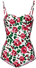 d85261799f LAMOON Womens One Piece Swimsuit Red Floral Underwire Strapless Swimwear  Bathing Suits (US 06)