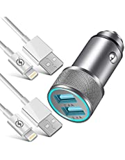NNICE Car Charger, 2.4A Dual Port Fast USB Car Charger Adapter with 2 Pack 3 FT Charging Cable Cord Compatible with Phone Xs/XS MAX/XR/X / 8/8 Plus / 7 / 6S/ 6S Plus 5S 5 5C SE,Pad and More