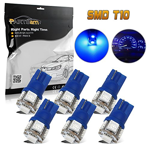 Partsam 6x Blue T10 194 168 2825 158 W5W LED License Plate Lights Bulbs 5050 5SMD (2000 Blue Note)