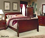 California King Bed Size in Feet Coaster 200431KW Louis Philippe Cal King Sleigh Panel Bed In Cherry