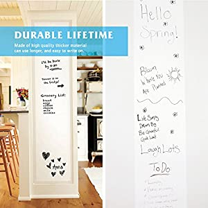 "Prefer Green Self-Adhesive Whiteboard Wall Decal Sticker, 78.7"" × 17.5"" Extra Large Strong & Durable Dry Erase Wall Paper Message Board for Kids, Office, School & Home with 1PCS Marker Pen (White)"