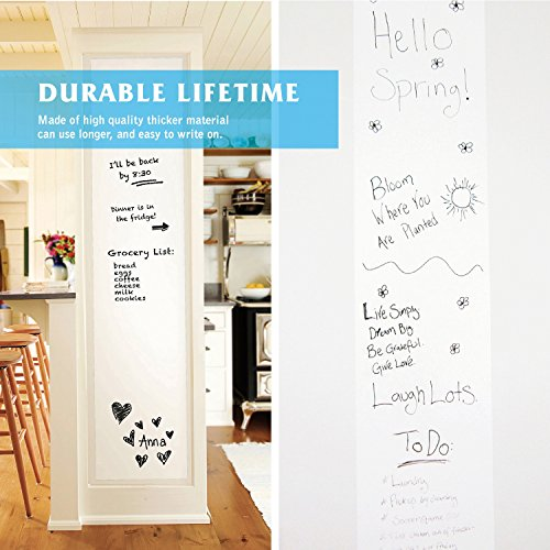 """Prefer Green Self-Adhesive Whiteboard Wall Decal Sticker, 78.7"""" × 17.5"""" Extra Large Strong & Durable Dry Erase Wall Paper Message Board for Kids, Office, School & Home with 1PCS Marker Pen (White) by Prefer Green (Image #2)"""