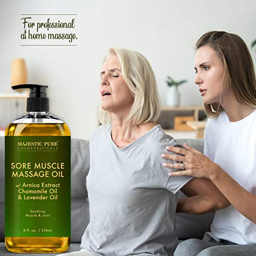 MAJESTIC PURE Arnica Sore Muscle Massage Oil for Body - Best Natural Therapy with Lavender and Chamomile Essential Oils - Warming, Relaxing, Massaging Joint Pain Relief Support - 8 fl. oz