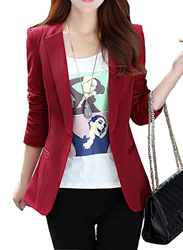 JHVYF Womens Casual Basic Work Office Cardigan Tuxedo Summer Blazer Open Front Boyfriend Jacket Wine Tag M/US 2 ()