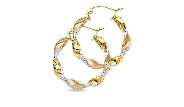 Swirl Hoop Earrings Solid 14k Yellow White Rose Gold Fancy Design French Lock