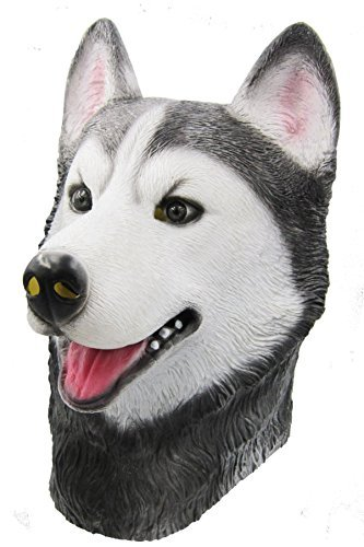 (BuBinga Novelty Husky Dog Animal Head Masks Halloween Party Costume)