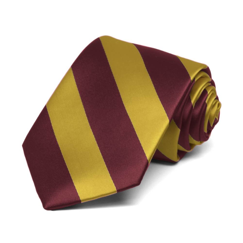 TieMart Boys Maroon and Gold Striped Tie