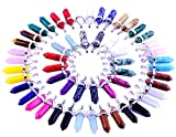 24pcs crystal stone Healing Pointed Chakra Pendants Hexagonal Gemstones Quartz Bullet Shape DIY Charm Beads Random Assorted Color for Necklace Beading Supplies Art Jewelry Making Women Girls Gift