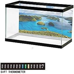 "bybyhome Fish Tank Backdrop Island,Palau Region Touristic Scene,Aquarium Background,24"" L X 16"" H(61x41cm) Thermometer Sticker"