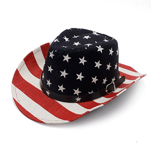 Cowboy Hat, Classic American Flag Summer Sunhat Western Cowboy Hat for Boys ()
