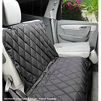 Dog Seat Cover with Hammock For Fold Down REAR BENCH SEAT 60/40 split and middle seat belt capable - Black Regular - For Cars, SUVs and Small Trucks - USA based company