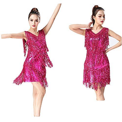 Samba Danse Vêtements Rumba Sequin Tango Rose Franges Concours Zgsjbmh Femmes Robe Glands Costumes Costume Bal Salle Métallique Frange Swing De Latine À WEDH2I9Y