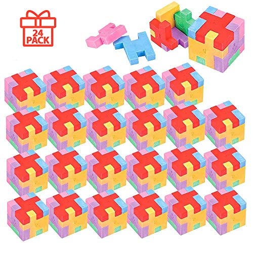 Kicko Puzzle Cube Eraser - Pack of 24 Assorted Colored Rubik's Block - Jigsaw, Novelty Toys, Educational Tool, Mind Game, Perfect for School Supplies, Party Stuffers, and Freebies