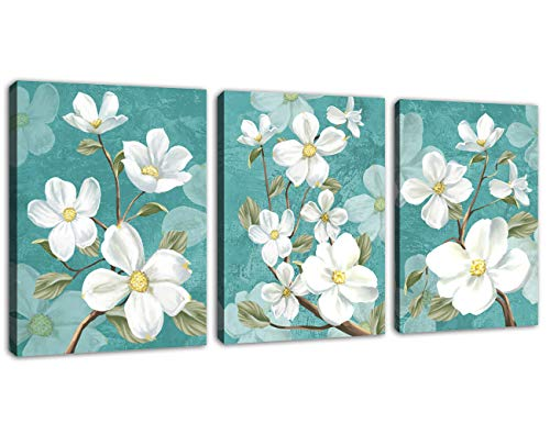 Flowers Wall Art for Bedroom White Flower Canvas Picture Bathroom Wall Decor Modern Blossom Blue Abstract Background Canvas Artwork for Living Room Home Decor Framed Ready to Hang 12 x 16 x 3 Pieces