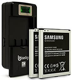 Two (2pk) Samsung Galaxy S4 OEM Original Standard Li-ion Battery 2600mAh for Galaxy S4 -Non-Retail Packaging- Black/Silver (Certified Refurbished) plus One (1) Bastex External Dock LCD Battery Charger
