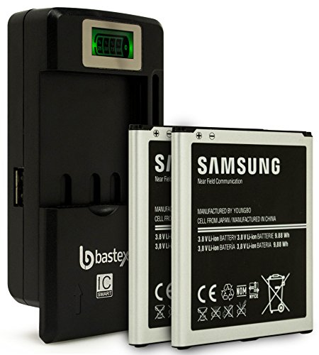 (Two (2pk) Samsung Galaxy S4 OEM Original Standard Li-ion Battery 2600mAh for Galaxy S4 -Non-Retail Packaging- Black/Silver (Certified Refurbished) plus One (1) Bastex External Dock LCD Battery Charger)