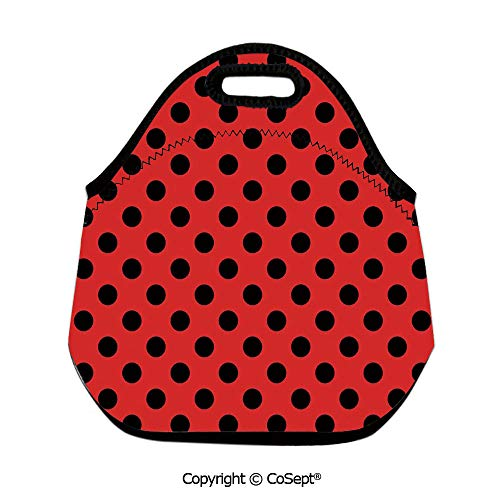 Portable lunch bag,Retro Vintage Pop Art Theme Old 60s 50s Rocker Inspired Bold Polka Dots Image,Lunch Boxes Container Tote(11.81x6.29x11.02 inch) Scarlet -