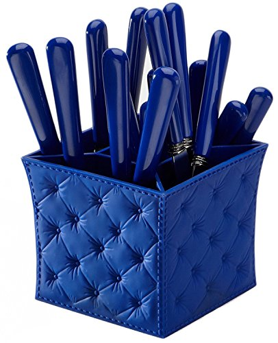 Q Squared Provence Stainless Steel with ABS Plastic Handles, 20 Piece Flatware Set with Matching Caddy, Blue
