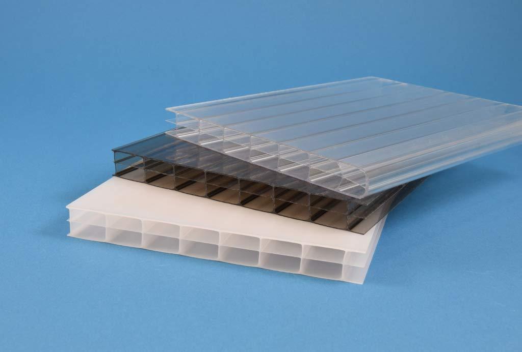 Stegplatte aus Polycarbonat Steg 3 Fach 16mm stark opal 980mm x 3000mm Doppelstegplatte