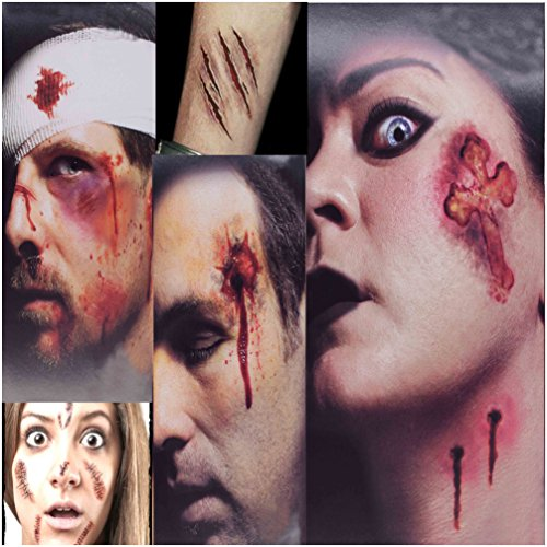 Zombie Face Tattoo (Scars Tattoos, CloudWave 3+5 Pack Body Face Scar Sticker Waterproof Temporary Terror Wound Blood Injury Scar Fake Tattoo for Halloween Party Prop, Zombies Cosplay)
