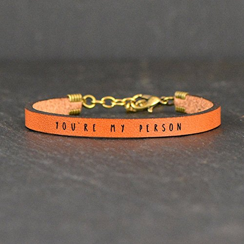 People Leather - You're My Person Brown Leather Quote Bracelet | by Laurel Denise