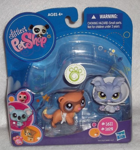 Littlest Pet Shop 2 Pack Collectible Figure Yorkie Ferret  1611 &  1612