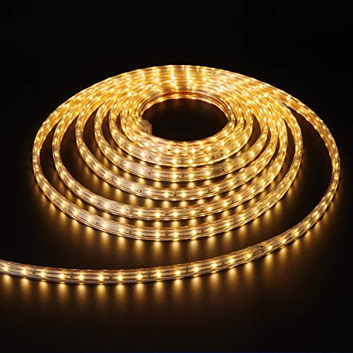 Shine Decor 7x10mm LED Strip Lights, 110V Dimmable Flexible Waterproof Rope Lights, 60LEDs/M, for Indoor Outdoor Ambient Commercial Lighting Decoration, Accessories Included, 16.4ft 3000K Warm White