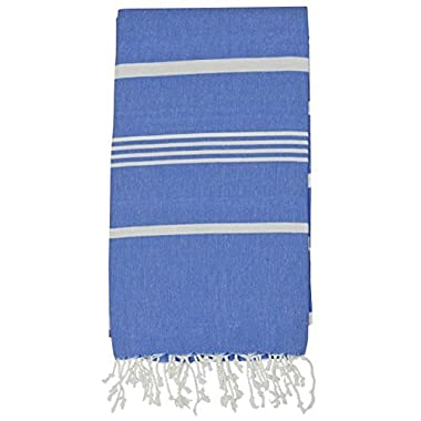 Turkish Peshtemal Pestemal Towel Thin Camping Bath Sauna Beach Gym Pool Fouta Towels 100% Cotton 70x40 inches Royal Blue (6530)