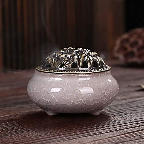 Incense Burner - Ice Crack Ceramic Disc Incense Burner With Sandalwood Buddha - Bowl Christmas Charcoal Mushroom Volcano Plate Fish Modern Statue Small