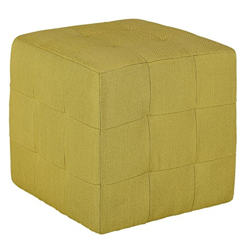 Cortesi Home Braque Citron Tufted Cube Ottoman in Green Fabric (Footstools Sale Upholstered For)