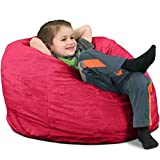 ULTIMATE SACK Bean Bag Chairs in multiple Sizes and Colors: Giant Foam-Filled Furniture - Machine Washable Covers, Double Stitched Seams, Durable Inner Liner. (Kids Sack, Pink Fur)