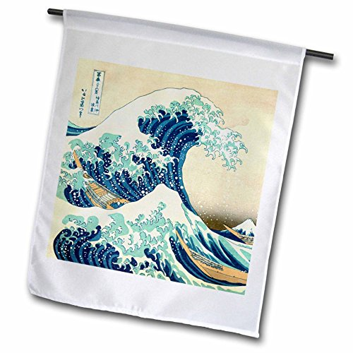 InspirationzStore Vintage Art – The Great Wave off Kanagawa by Japanese artist Hokusai – dramatic blue sea ocean Ukiyo-e print 1830 – 18 x 27 inch Garden Flag (fl_155631_2)