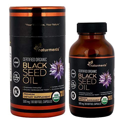 Black Cumin Seed Oil Capsules: 500 Mg Organic, Unrefined, Cold Pressed, Extra Virgin Nigella Sativa Premium Dietary Supplement - Pure, Non GMO, Kosher, Halal Kalonji Oil - 90 Softgels