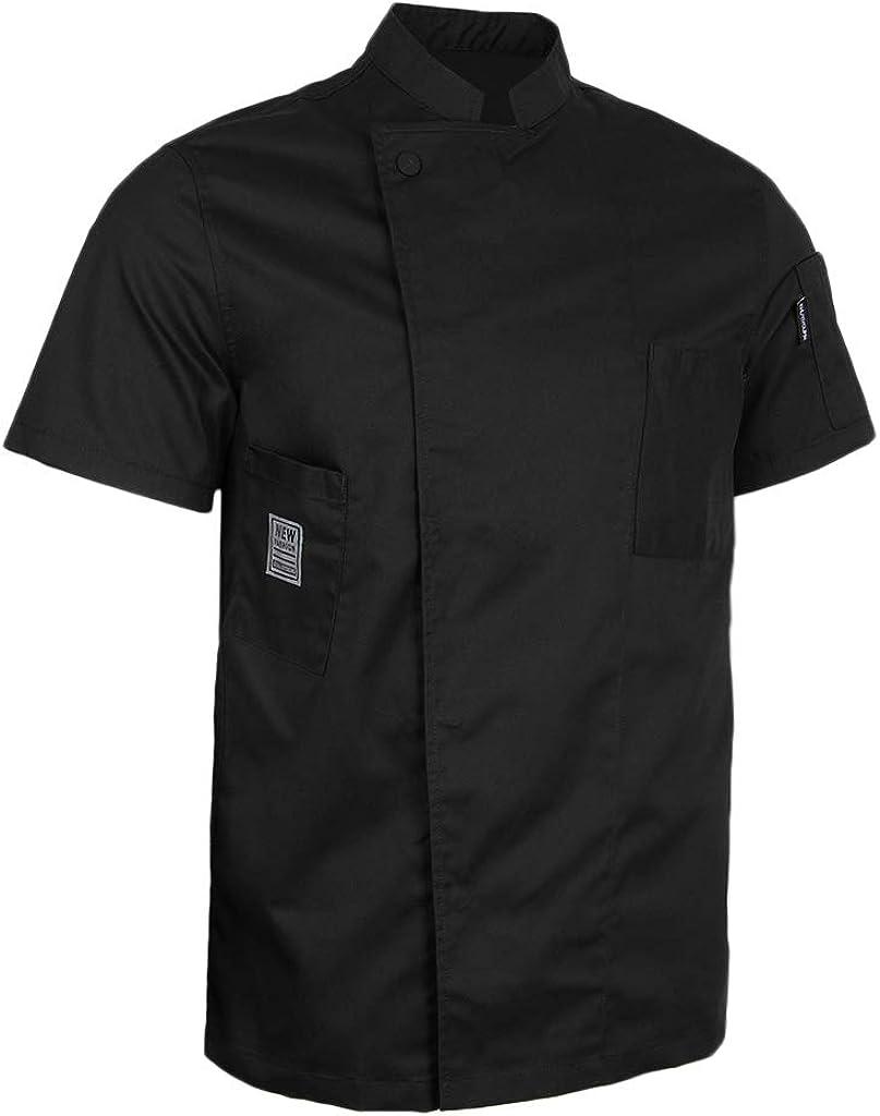 Baoblaze Cappotto Cameriere Manica Corta Cuoco Abbigliamento da Uomo Donne Chef