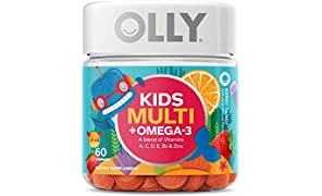 OLLY Kids Multi + Omega 3 Gummy Multivitamin, 30 Day Supply (60 Count), Berry Tangy, Vitamins A, C, D, E, B, Zinc, Omega 3, Chewable Supplement