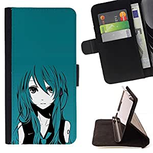 Momo Phone Case / Flip Funda de Cuero Case Cover - Anime Girl turquesa Cabello Big Eyes Arte de la historieta - HTC One M7