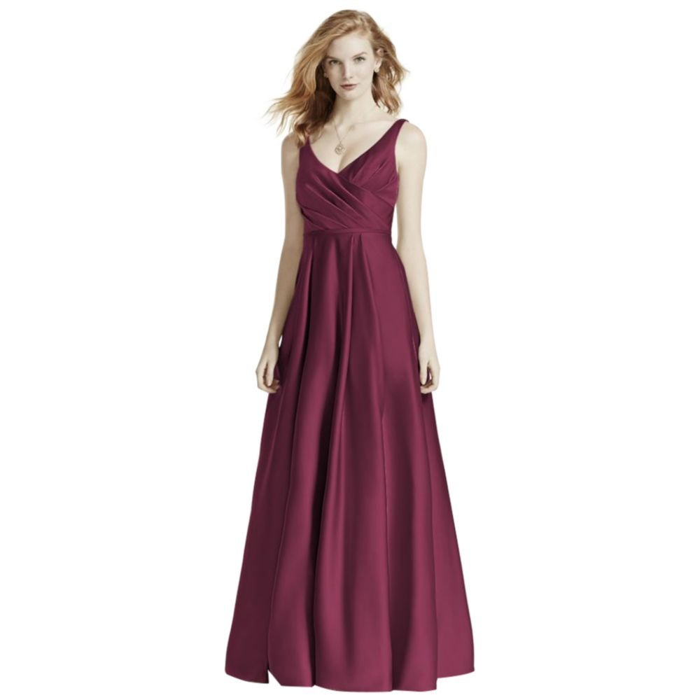 David's Bridal Satin Tank Long Ball Gown Bridesmaid Dress Style F15741, Wine, 18 by David's Bridal