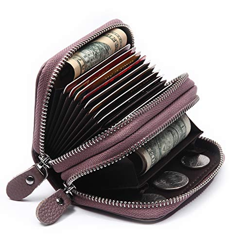 Women's Credit Card Wallet, Leather Credit Card Holder Accordion Wallet Small Zipper Wallet with RFID Blocking (Light Purple(Double Zip))