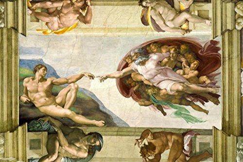 Michelangelo The Creation Adam Fresco Sistine Chapel Ceiling Poster 36x24 inch
